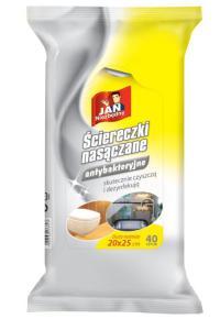 Jan Niezbędny_ściereczki nasączane antybakteryjne_cena ok. 8,00 zł_40 szt.