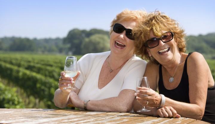 Senior women enjoying and laughing